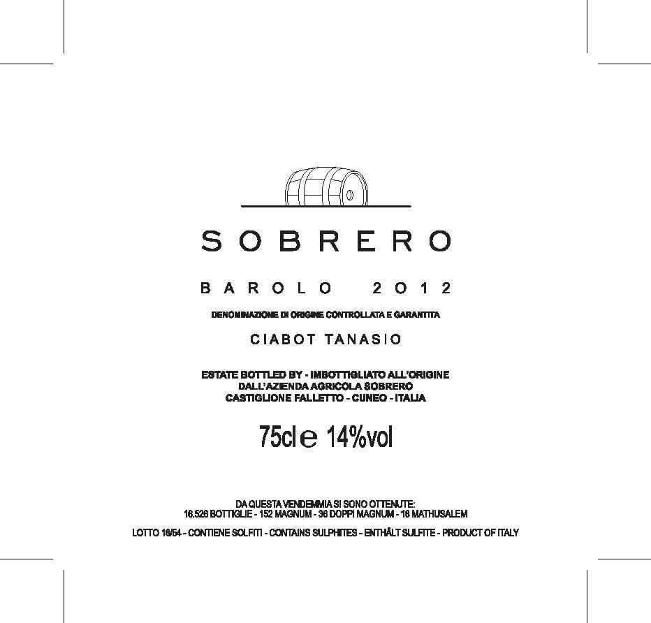 Sobrero Barolo Ciabot Tanasio Jeroboam 2012